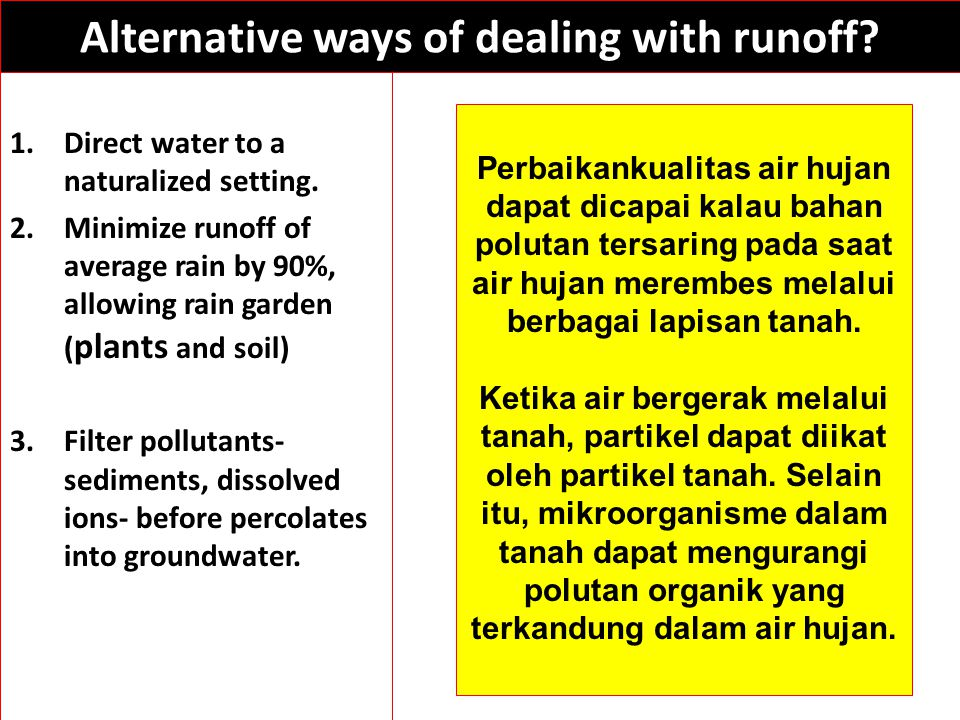 Alternative ways of dealing with runoff