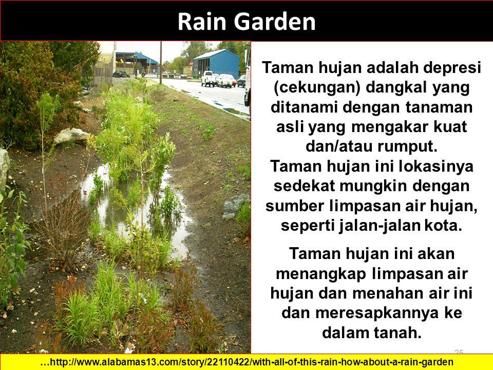Rain Garden Taman hujan adalah depresi (cekungan) dangkal yang ditanami dengan tanaman asli yang mengakar kuat dan/atau rumput.