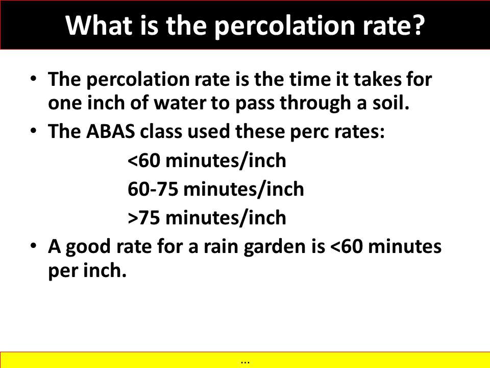 What is the percolation rate