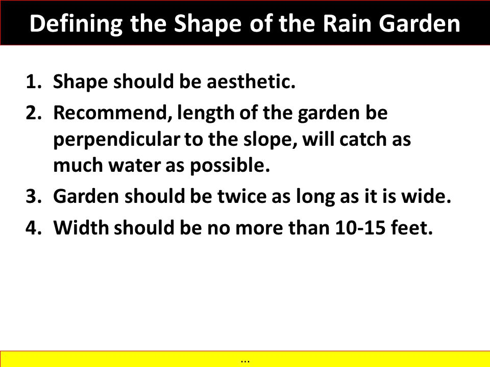 Defining the Shape of the Rain Garden