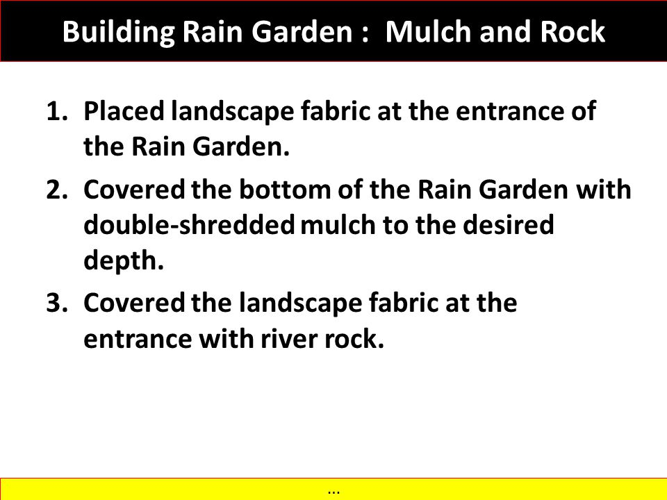 Building Rain Garden : Mulch and Rock