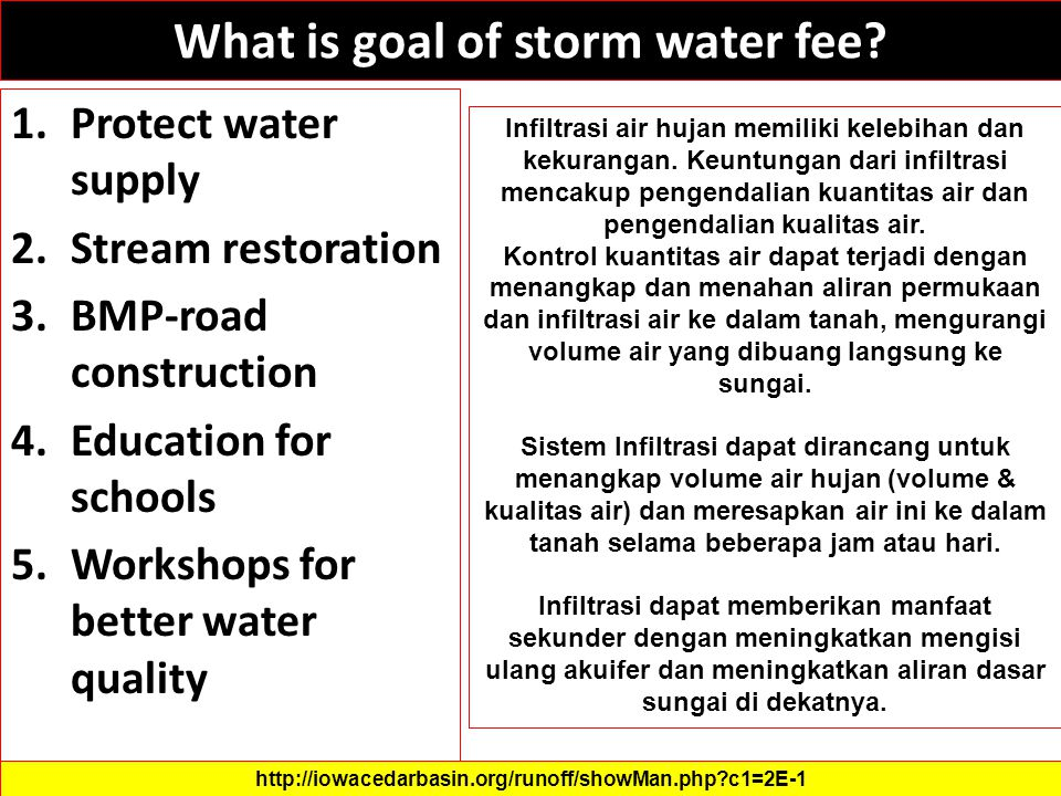 What is goal of storm water fee