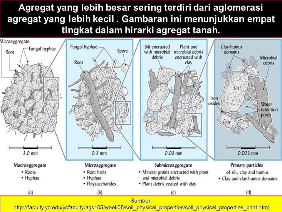Agregat yang lebih besar sering terdiri dari aglomerasi agregat yang lebih kecil . Gambaran ini menunjukkan empat tingkat dalam hirarki agregat tanah.