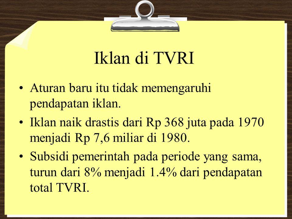 Iklan di TVRI Aturan baru itu tidak memengaruhi pendapatan iklan.