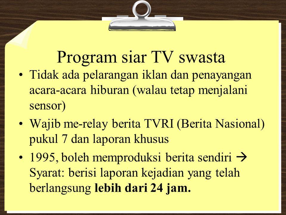 Program siar TV swasta Tidak ada pelarangan iklan dan penayangan acara-acara hiburan (walau tetap menjalani sensor)
