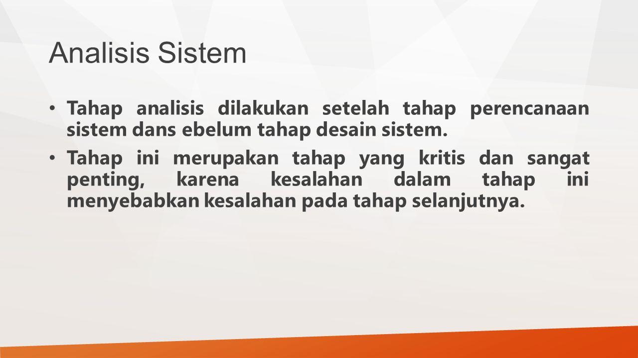 Analisis Sistem Tahap analisis dilakukan setelah tahap perencanaan sistem dans ebelum tahap desain sistem.