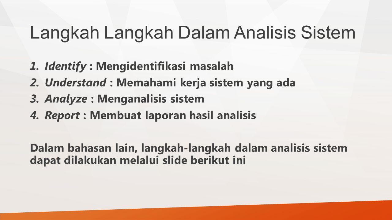 Langkah Langkah Dalam Analisis Sistem