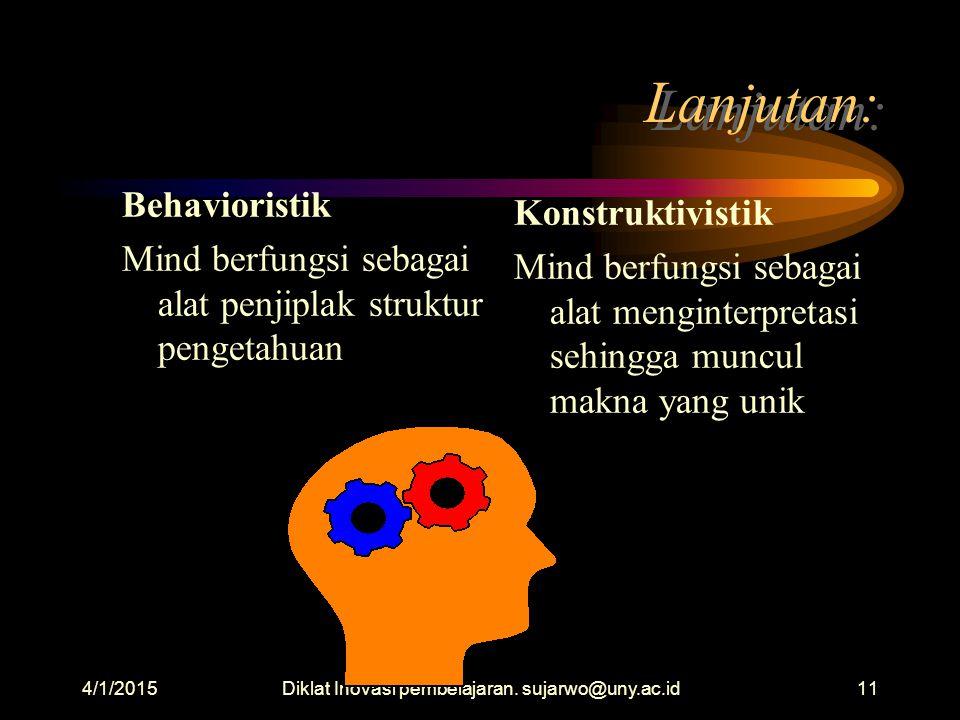 Diklat Inovasi pembelajaran. sujarwo@uny.ac.id