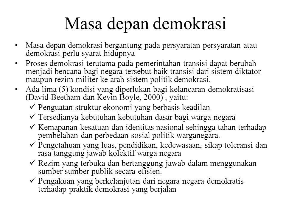 Masa depan demokrasi Masa depan demokrasi bergantung pada persyaratan persyaratan atau demokrasi perlu syarat hidupnya.