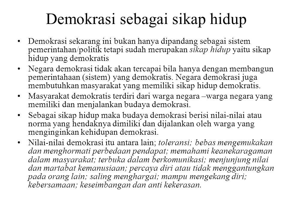 Demokrasi sebagai sikap hidup
