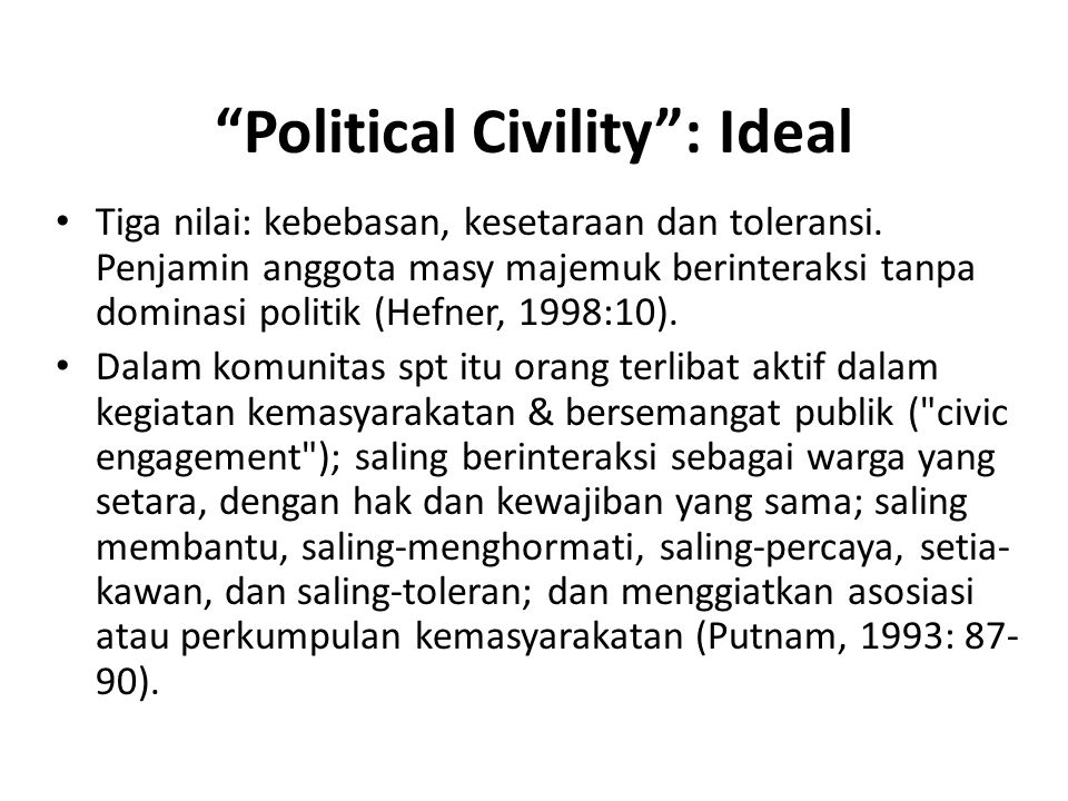 Political Civility : Ideal