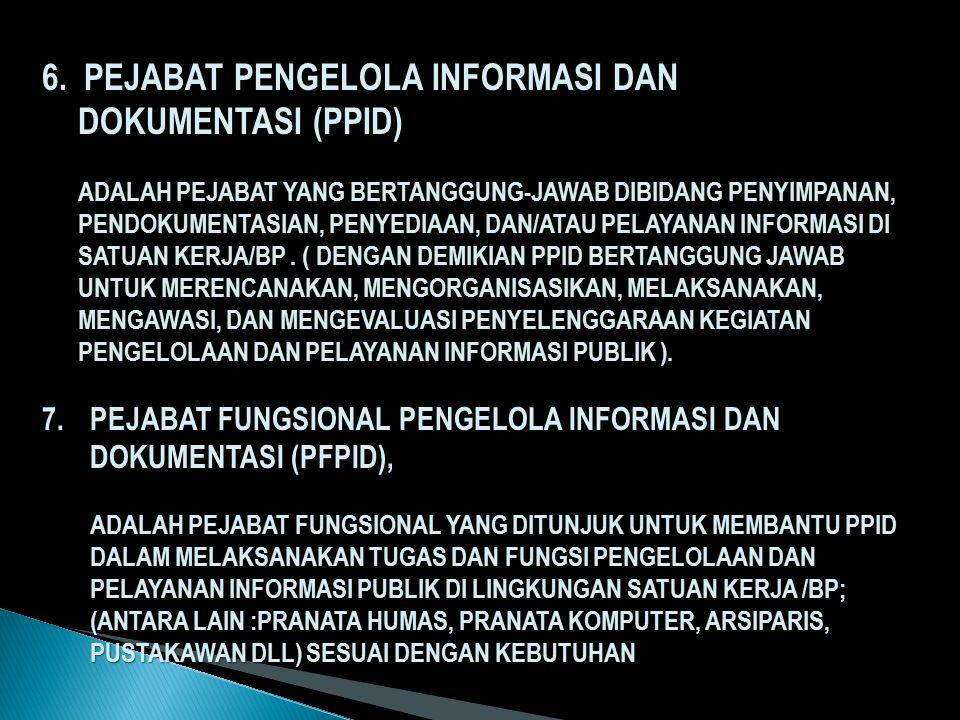 6. PEJABAT PENGELOLA INFORMASI DAN DOKUMENTASI (PPID)