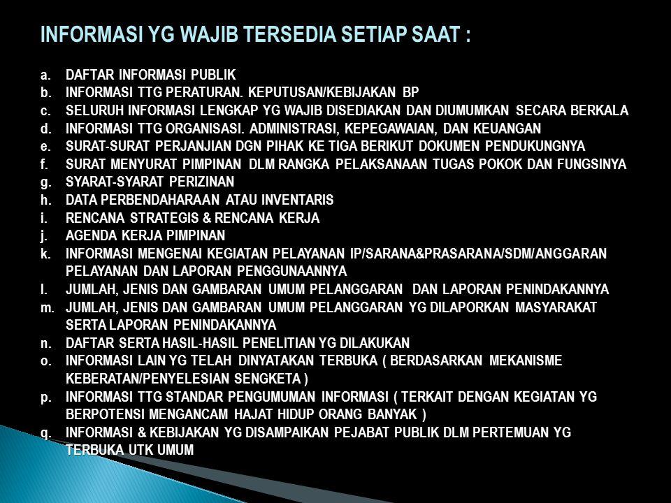 INFORMASI YG WAJIB TERSEDIA SETIAP SAAT :