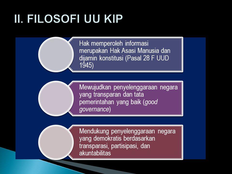 II. FILOSOFI UU KIP Hak memperoleh informasi merupakan Hak Asasi Manusia dan dijamin konstitusi (Pasal 28 F UUD 1945)