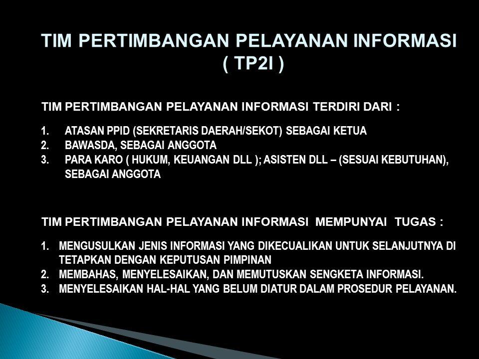 TIM PERTIMBANGAN PELAYANAN INFORMASI ( TP2I )