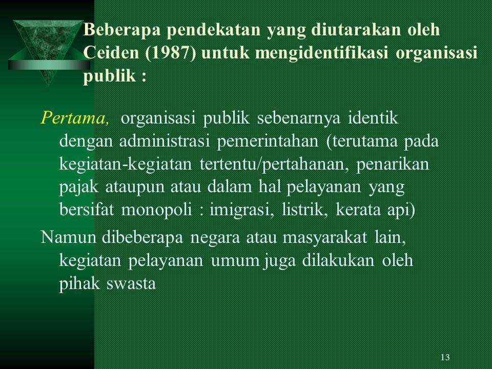 Beberapa pendekatan yang diutarakan oleh Ceiden (1987) untuk mengidentifikasi organisasi publik :