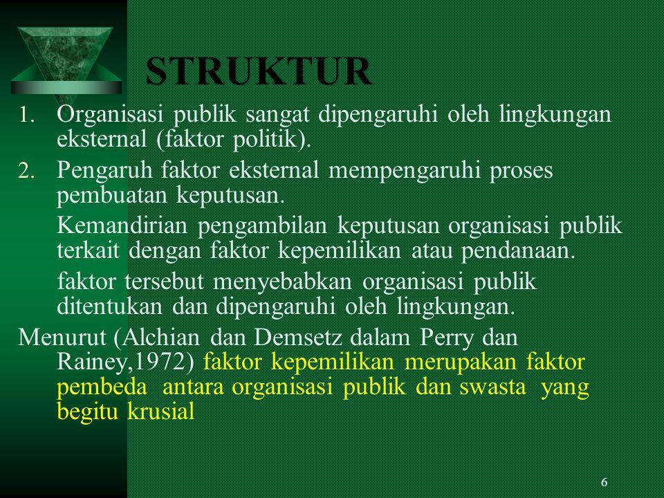 STRUKTUR Organisasi publik sangat dipengaruhi oleh lingkungan eksternal (faktor politik).