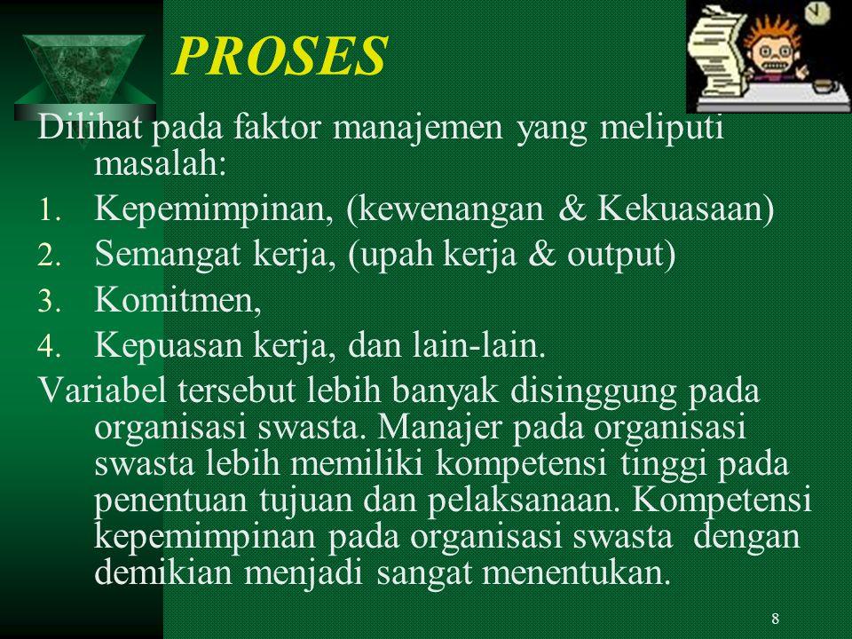 PROSES Dilihat pada faktor manajemen yang meliputi masalah: