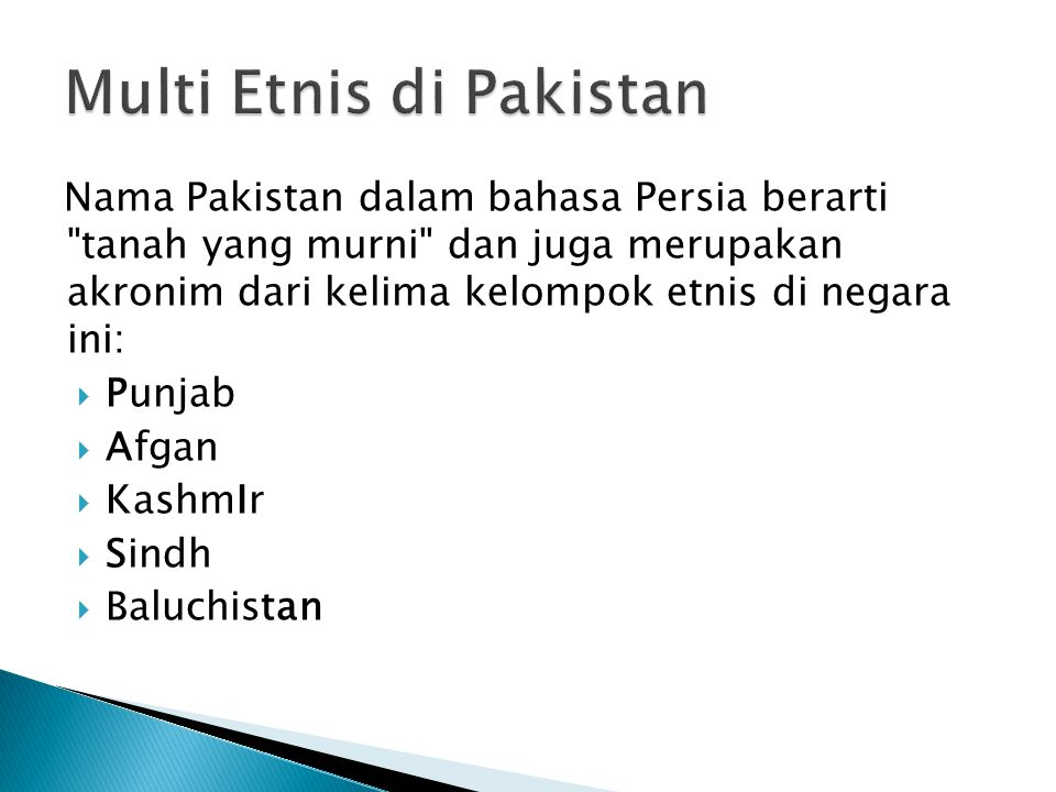 Multi Etnis di Pakistan