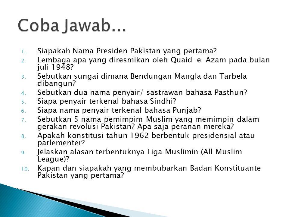 Coba Jawab... Siapakah Nama Presiden Pakistan yang pertama