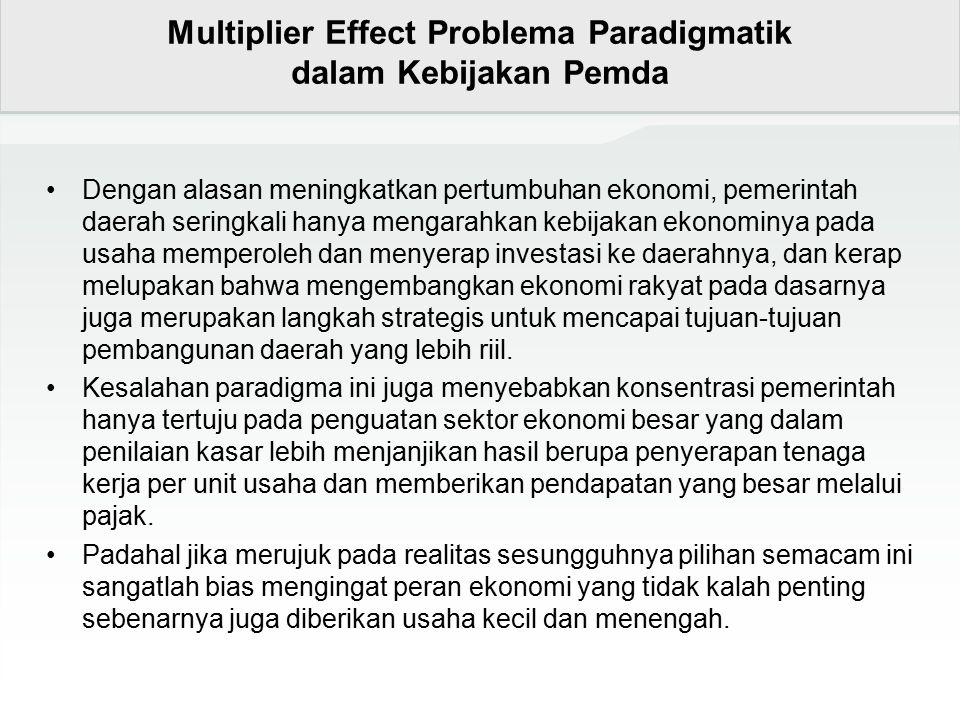 Multiplier Effect Problema Paradigmatik