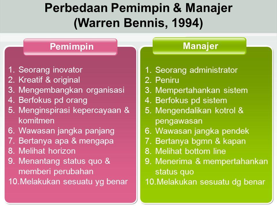 Perbedaan Pemimpin & Manajer (Warren Bennis, 1994)