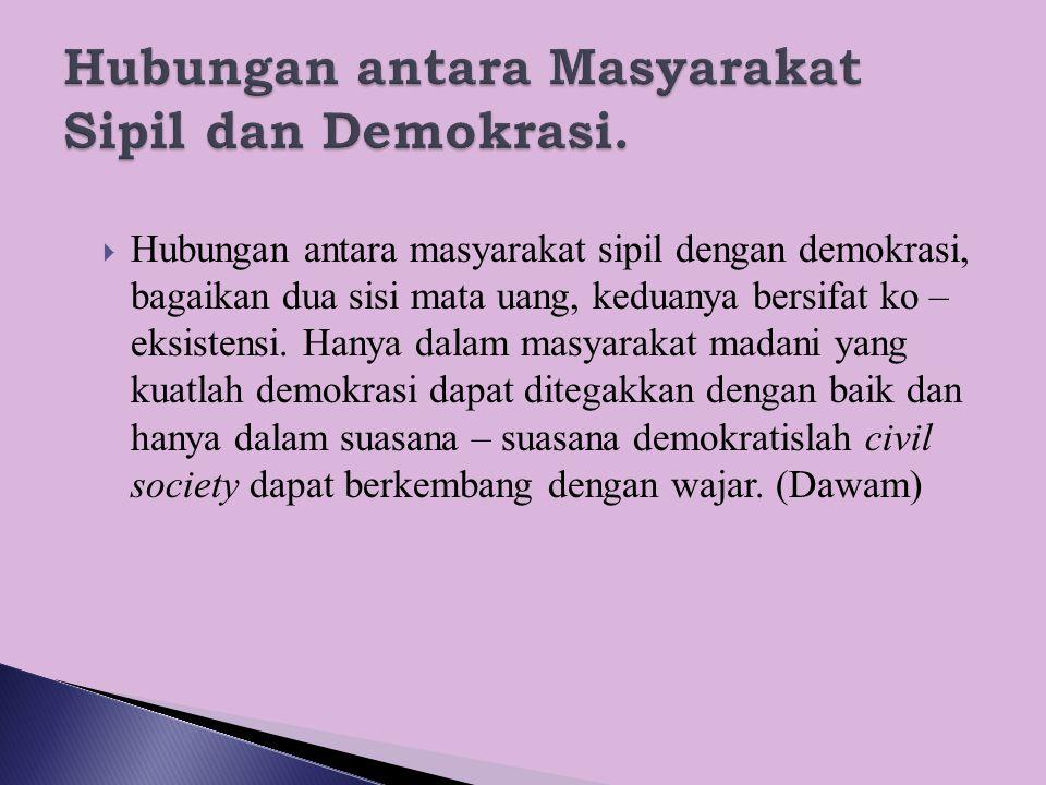 Hubungan antara Masyarakat Sipil dan Demokrasi.
