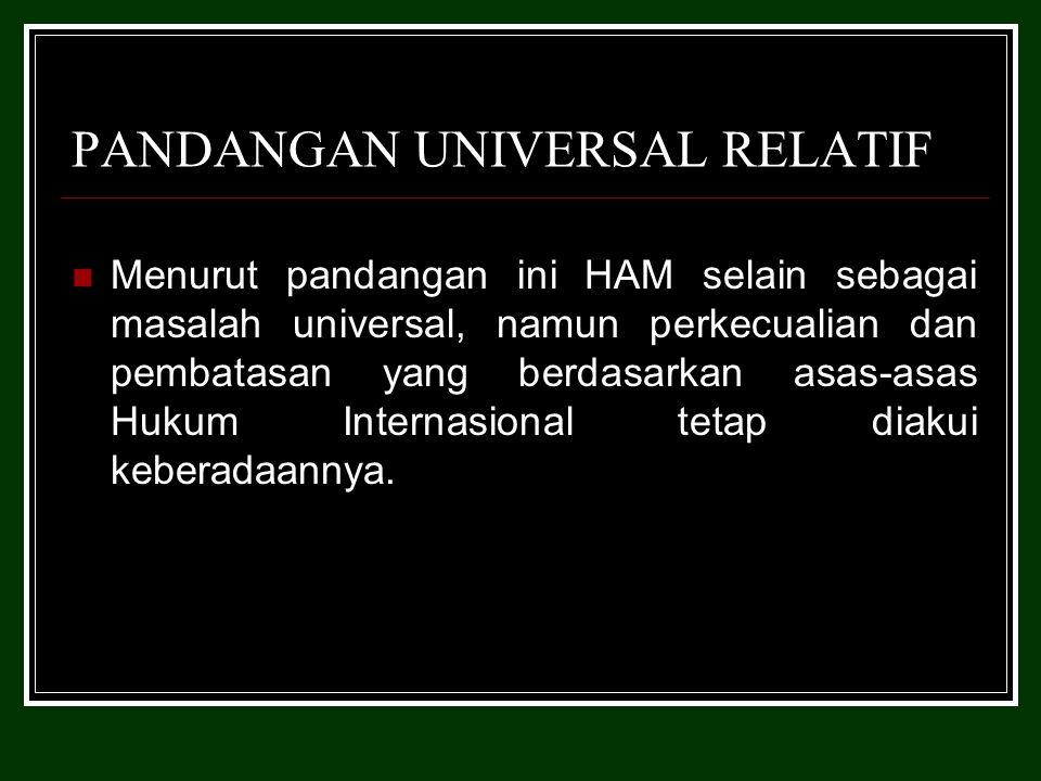 PANDANGAN UNIVERSAL RELATIF