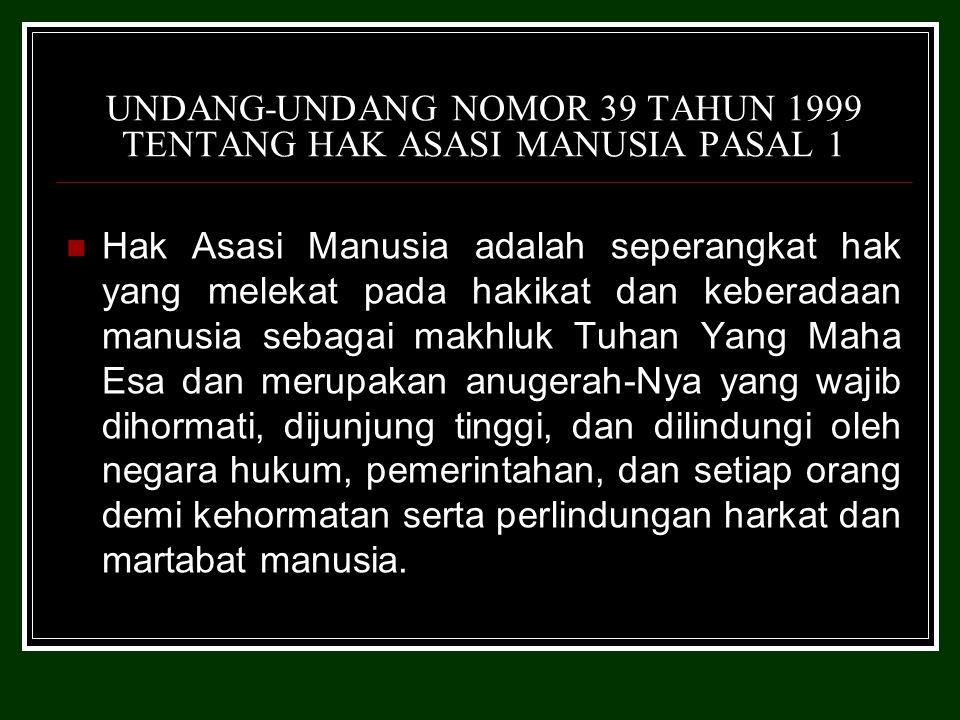 UNDANG-UNDANG NOMOR 39 TAHUN 1999 TENTANG HAK ASASI MANUSIA PASAL 1