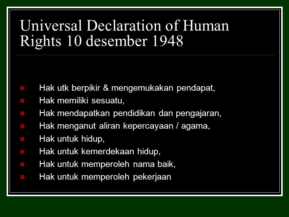 Universal Declaration of Human Rights 10 desember 1948