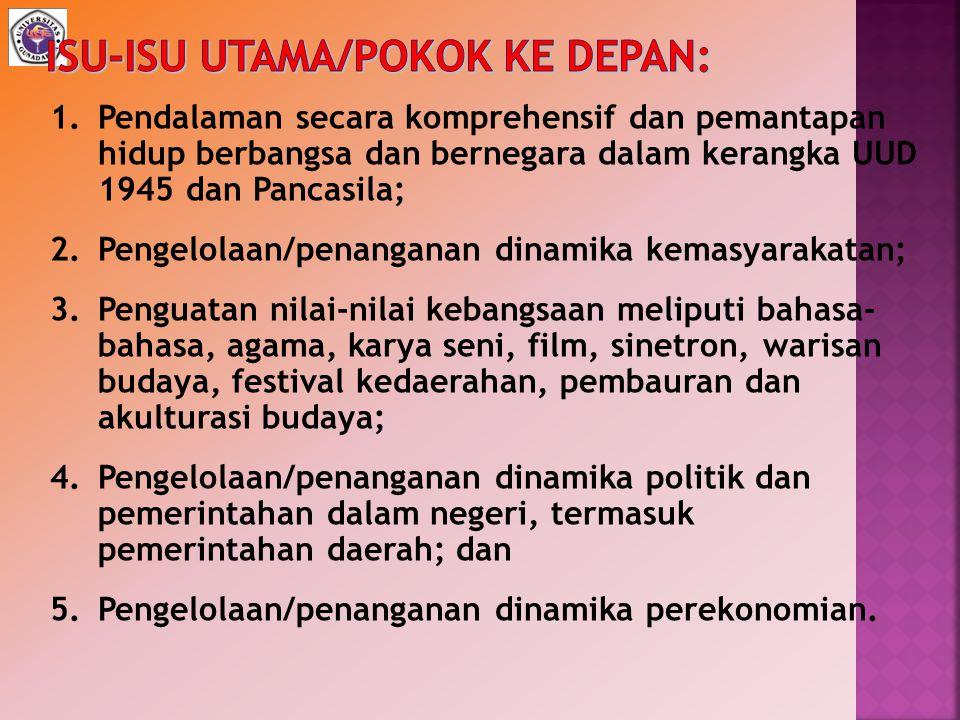 ISU-ISU UTAMA/POKOK KE DEPAN: