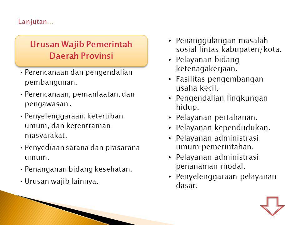 Urusan Wajib Pemerintah Daerah Provinsi