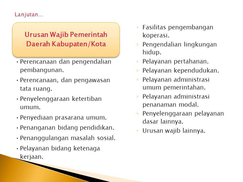 Urusan Wajib Pemerintah Daerah Kabupaten/Kota