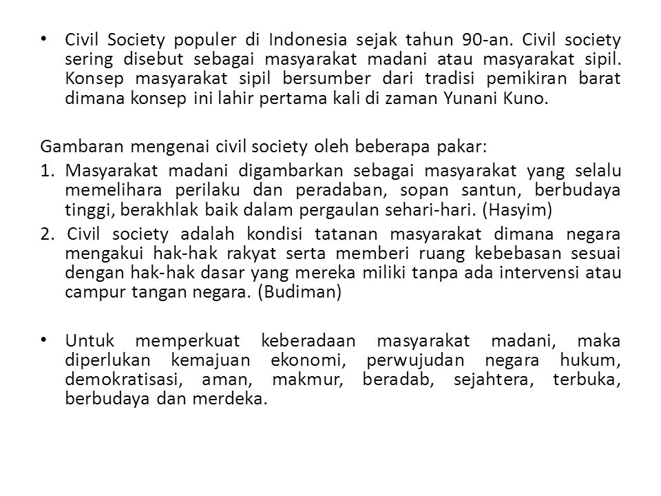 Civil Society populer di Indonesia sejak tahun 90-an