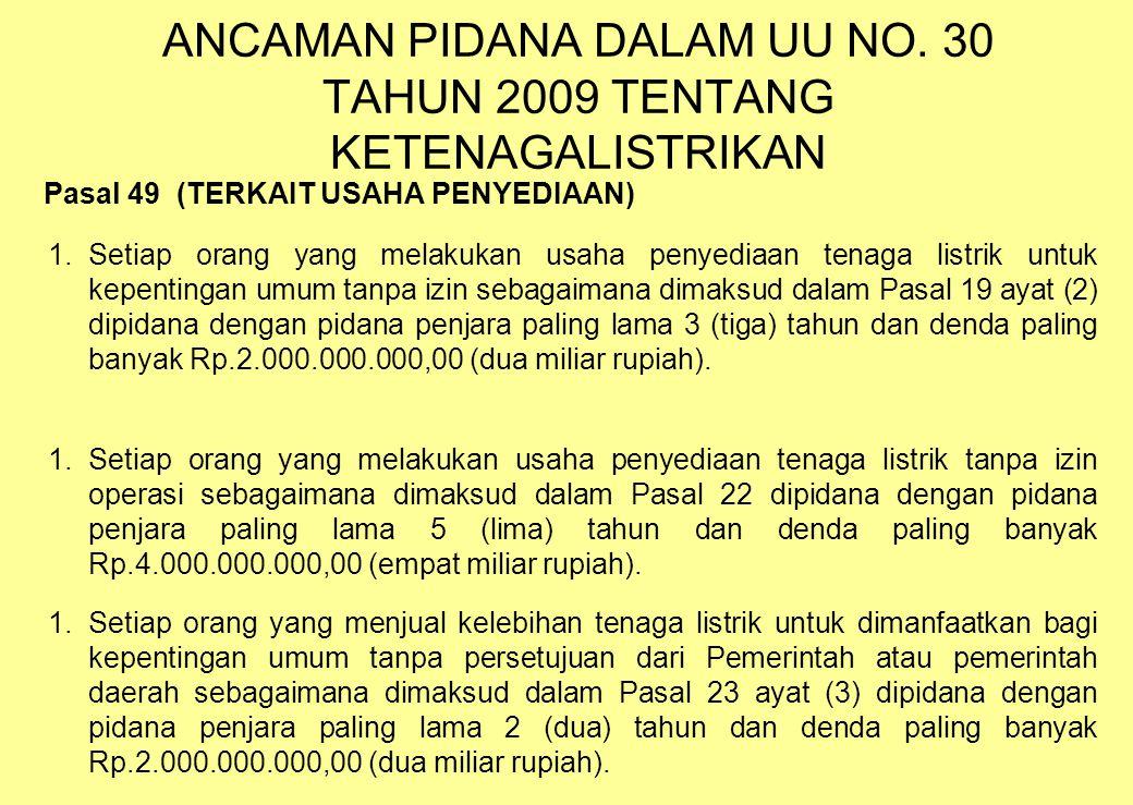 ANCAMAN PIDANA DALAM UU NO. 30 TAHUN 2009 TENTANG KETENAGALISTRIKAN