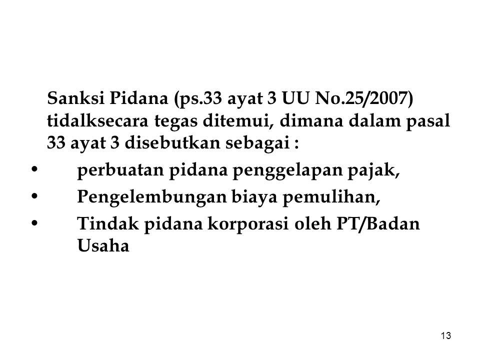 Sanksi Pidana (ps. 33 ayat 3 UU No