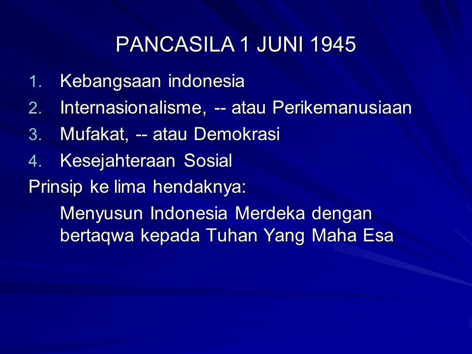 PANCASILA 1 JUNI 1945 Kebangsaan indonesia