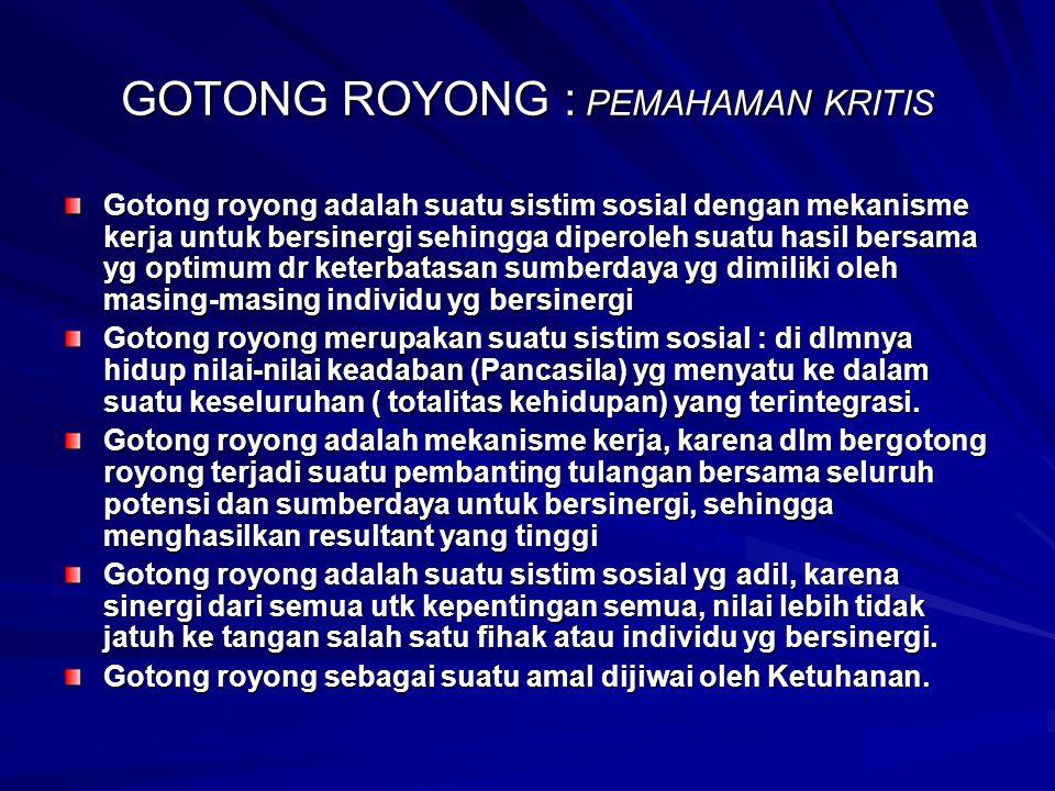 GOTONG ROYONG : PEMAHAMAN KRITIS