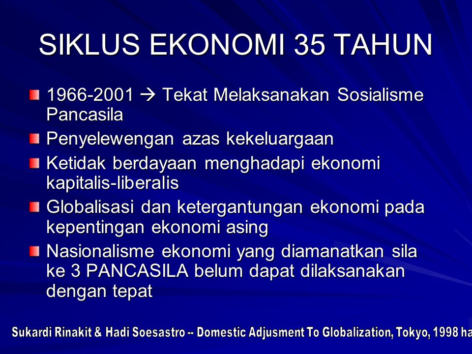 SIKLUS EKONOMI 35 TAHUN 1966-2001  Tekat Melaksanakan Sosialisme Pancasila. Penyelewengan azas kekeluargaan.
