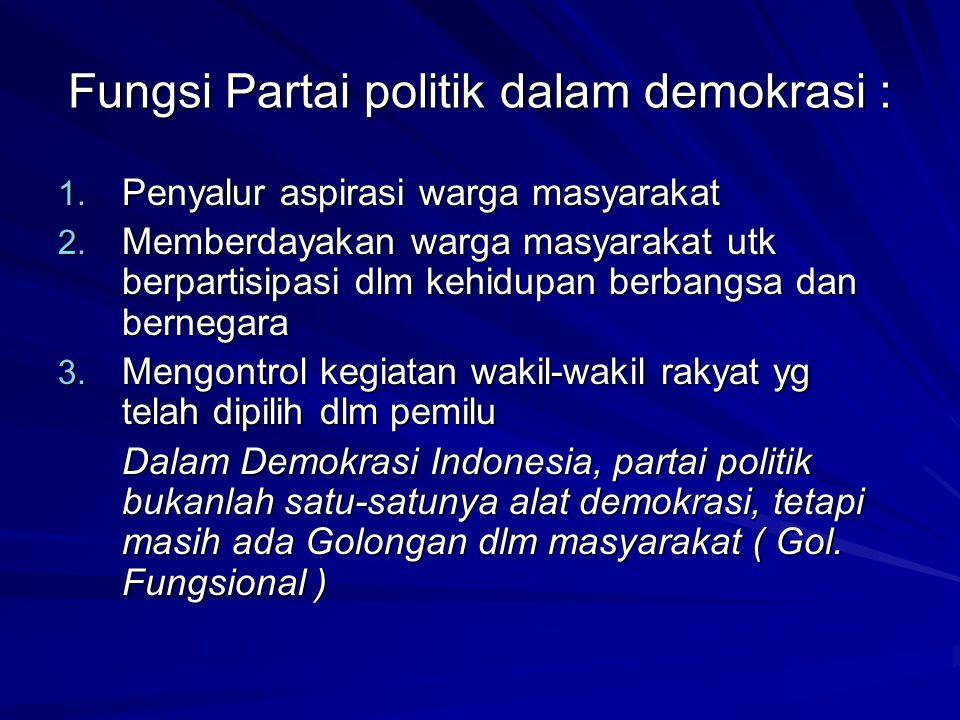 Fungsi Partai politik dalam demokrasi :