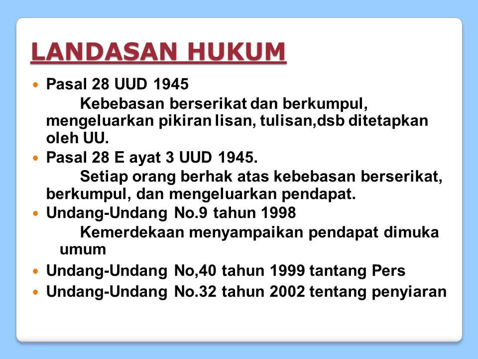 LANDASAN HUKUM Pasal 28 UUD 1945