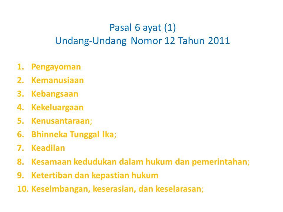 Pasal 6 ayat (1) Undang-Undang Nomor 12 Tahun 2011