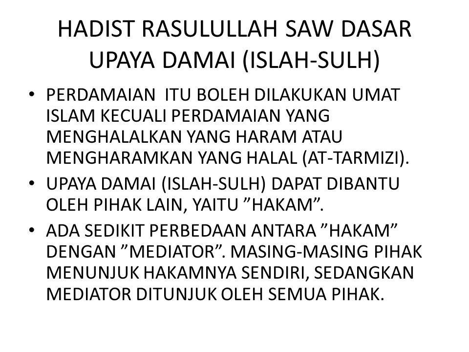 HADIST RASULULLAH SAW DASAR UPAYA DAMAI (ISLAH-SULH)