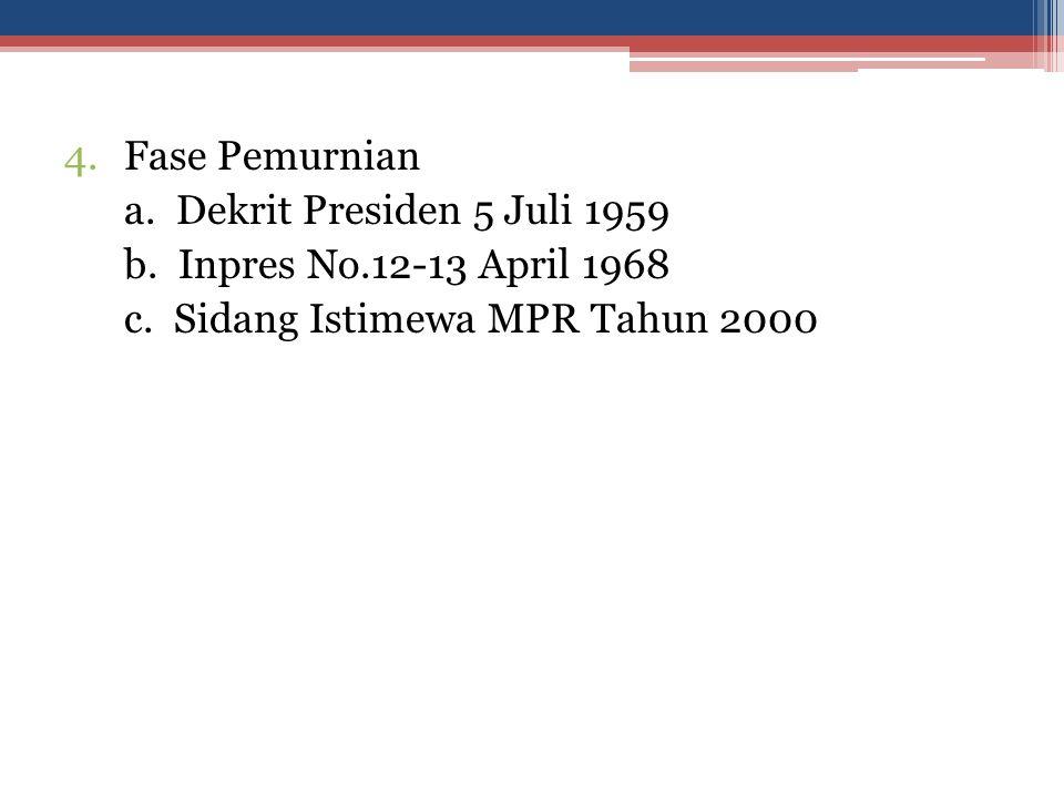 Fase Pemurnian a. Dekrit Presiden 5 Juli 1959. b.