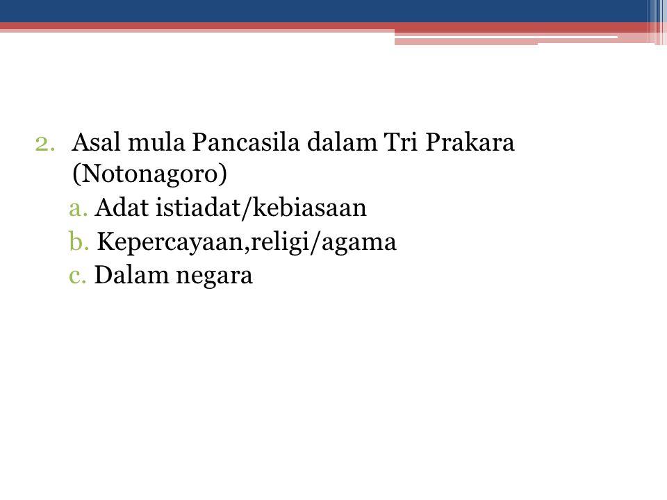 Asal mula Pancasila dalam Tri Prakara (Notonagoro)