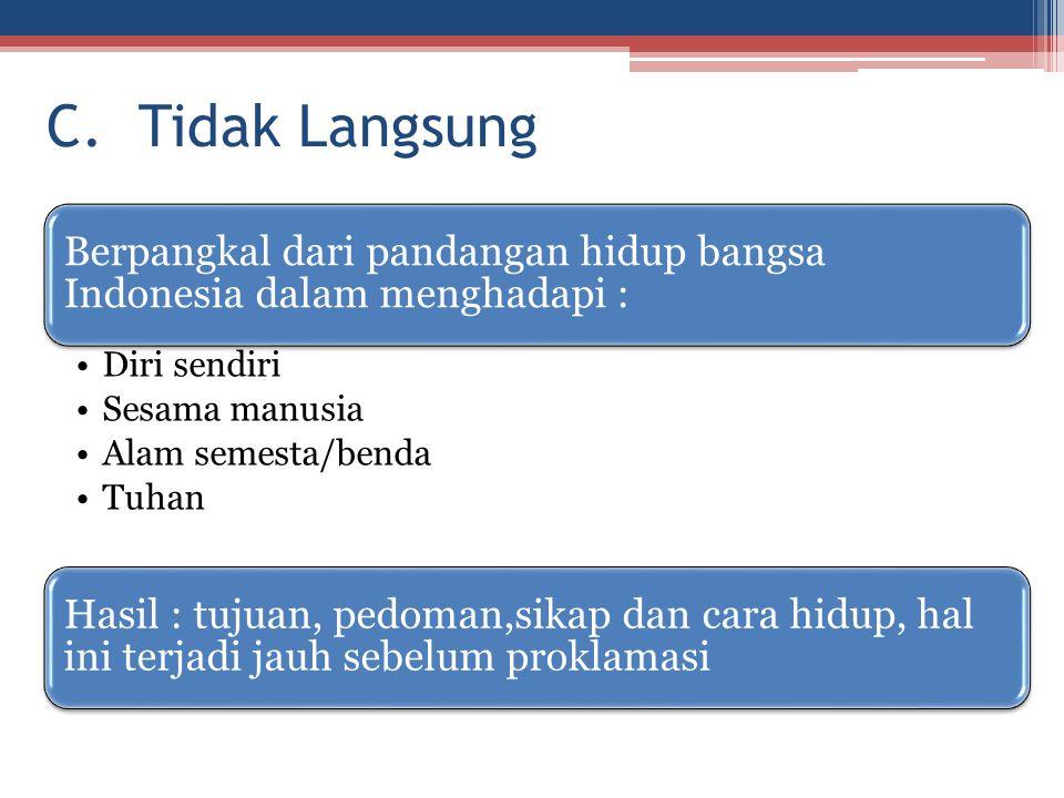 C. Tidak Langsung Berpangkal dari pandangan hidup bangsa Indonesia dalam menghadapi : Diri sendiri.