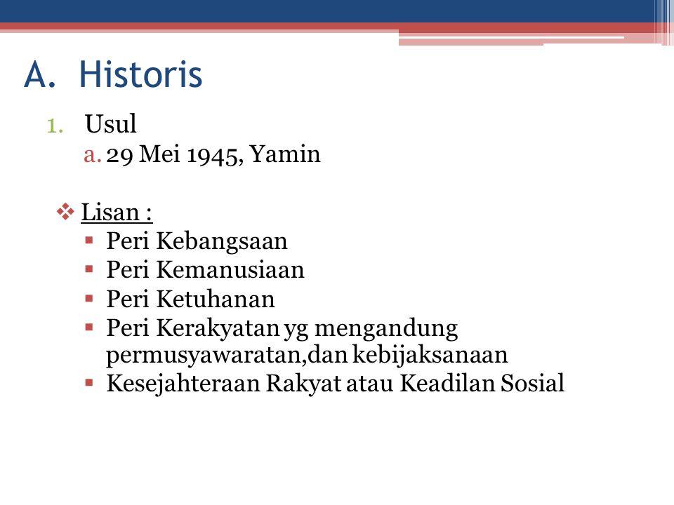 Historis Usul 29 Mei 1945, Yamin Lisan : Peri Kebangsaan