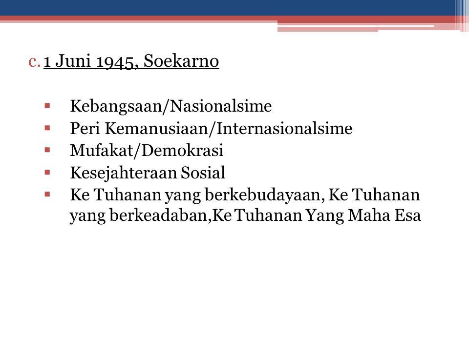 1 Juni 1945, Soekarno Kebangsaan/Nasionalsime