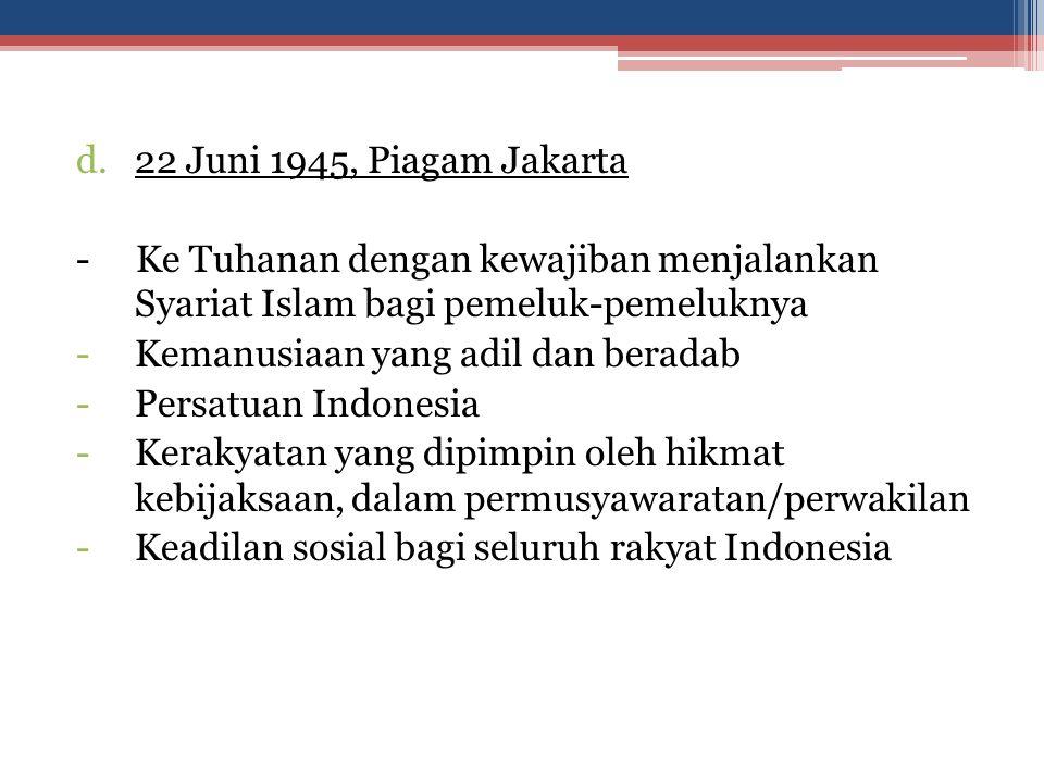 22 Juni 1945, Piagam Jakarta - Ke Tuhanan dengan kewajiban menjalankan Syariat Islam bagi pemeluk-pemeluknya.