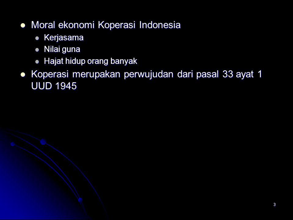 Moral ekonomi Koperasi Indonesia